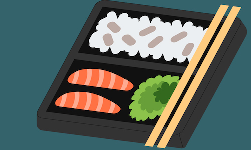 An illustration of a bento box